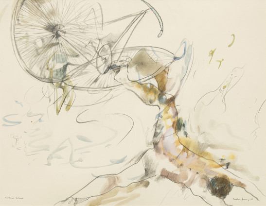 Dorothea Tanning Further Chaos, 1988 Graphite, coloured inks, gouache and watercolour on paper 72.4 x 99.7 cm, 28 1/2 x 39 1/4 ins 94.1 x 113.6 cm, 37 1/8 x 44 3/4 ins, framed Signed and dated on recto 'Dorothea Tanning 88' (lower right) Inscribed 'Further Chaos' (lower left)