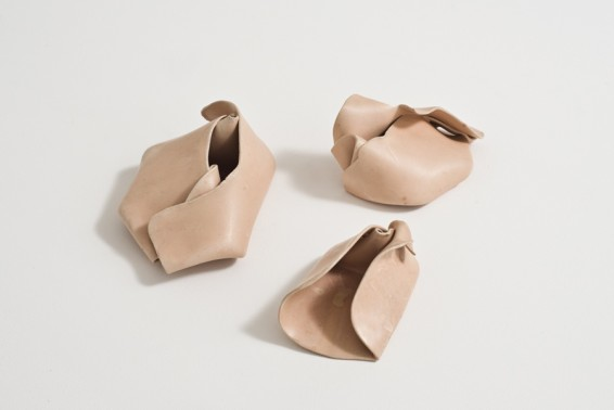 Hannah Wilke Untitled, 1977 Unglazed ceramic (3 gestural fold sculptures) a) 6.5 x 16.3 x 9.2 cm, 2 1/2 x 6 3/8 x 3 5/8 ins b) 5.5 x 10.5 x 7 cm, 2 1/8 x 4 1/8 x 2 3/4 ins c) 6 x 12.5 x 8 cm, 2 3/8 x 4 7/8 x 3 1/8 ins A and C signed 'Wilke 77' on base