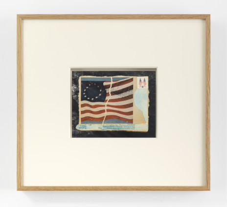 Lenore Tawney Untitled, 1975 Collage, paper, watercolour, postage stamp 8.9 x 12.7 cm, 3 1/2 x 5 ins 34.5 x 37.7 x 2.5 cm, 13 5/8 x 14 7/8 x 1 ins, framed Signed on the recto