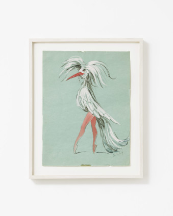"Dorothea Tanning Untitled (Costume Design for Bayou), 1951 Graphite and gouache on green paper 31.8 x 24.1 cm, 12 1/2 x 9 1/2 ins 38.6 x 31 cm, 15 1/4 x 12 1/4 ins, framed Signed lower right ""Tanning"""