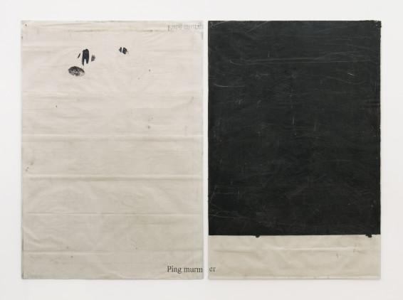 Ian Kiaer Endnote, ping (murmer/black), 2018 Acrylic, pencil on paper, Plexiglas 168 x 234 x 1.8 cm, 66 1/8 x 92 1/8 x 3/4 ins Left panel: 168 x 118.5 x 1.8 cm, 66 1/8 x 46 5/8 x 3/4 ins Right panel: 167.8 x 112.5 x 1 cm, 66 1/8 x 44 1/4 x 3/8 ins
