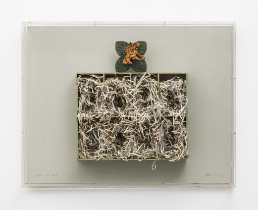 Dorothea Tanning Home at Last, 1972 Cardboard box, paper, plastic and dried flower on board 43.2 x 55.2 x 12.7 cm, 17 x 21 3/4 x 5 ins, perspex frame Titled and signed on board 'HOME AT LAST' (lower left), 'Dorothea Tanning' (lower right)