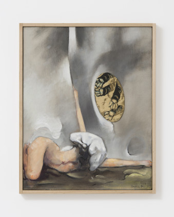"""Dorothea Tanning Glad Nude With Paws, 1978 Oil on canvas with fabric collage 50.8 x 40.3 cm, 20 x 15 7/8 in 53 x 42.5 cm, 20 7/8 x 16 3/4 in framed Signed lower right """"Dorothea Tanning"""" Inscribed verso """"Glad Nude with Paws Dorothea Tanning 1978"""""""