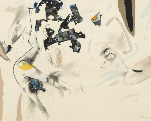 Dorothea Tanning Down, on Rivington, 1988 Collage, graphite, watercolour and gouache on board 79.7 x 99 cm, 31 3/8 x 39 ins 103.4 x 122.2 cm, 40 3/4 x 48 1/8 ins, framed Signed and dated on recto 'Dorothea Tanning 88' (lower right) Inscribed 'Down, on Rivington' (lower left)