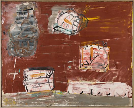 Roy Oxlade  Three Electric Fires, 1988  Oil on canvas  122 x 152.5 cm, 48 1/8 x 60 1/8 ins  124.6 x 155 cm, 49 1/8 x 61 1/8 ins framed