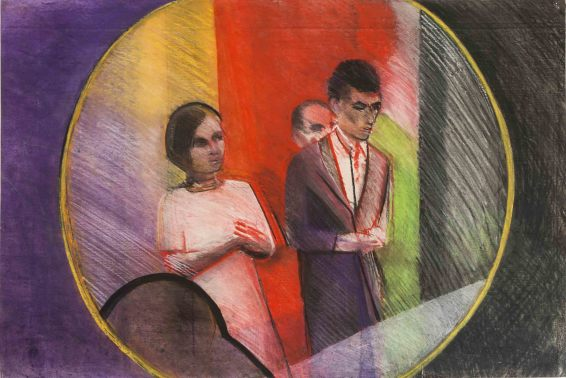 Sue Dunkley Blood Wedding, c. 1973 Pastel on paper 59 x 88.2 cm, 23 1/4 x 34 3/4 ins, paper size 72 x 100 cm, 28 3/8 x 39 3/8 ins, framed