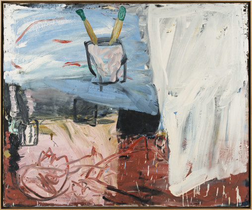 Roy Oxlade  Figure and Two Brushes, 1987  Oil on canvas  101.5 x 122.2 cm, 40 x 48 1/8 ins  104.1 x 124.8 cm, 41 x 49 1/8 ins framed