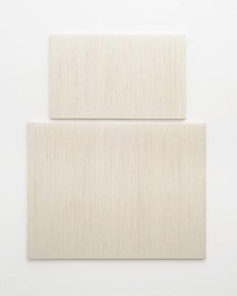 Sheila Hicks  Petit Dame Blanche et Grande Dame Blanche, 2017  Linen  2 elements:  80 x 130 cm, 31 1/2 x 51 1/8 ins  130 x 170 cm, 51 1/8 x 66 7/8 ins