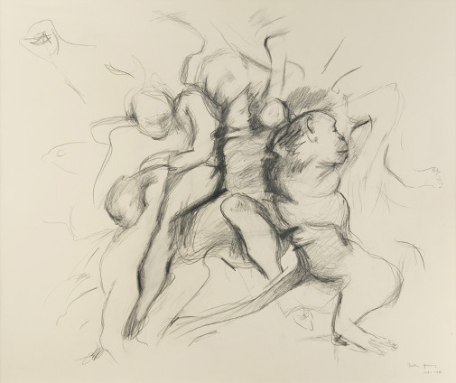 Dorothea Tanning Friends of Friends, 1986 Graphite and coloured pencil on paper 79 x 97 cm, 31 1/8 x 38 1/4 ins 101.6 x 116.8 cm, 40 x 46 ins, framed Signed and dated 'Dorothea Tanning Oct. 1, 1986' (lower right) Inscribed 'Roots' (lower left)