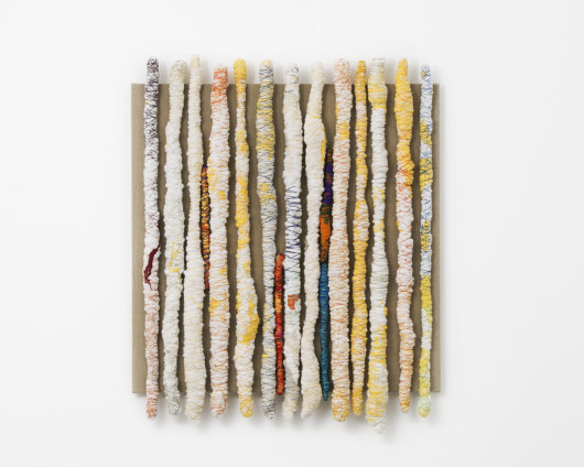 Sheila Hicks  En Scene, 2017  Wool, cotton, wood, silk, bamboo, linen and synthetic fibres  99 x 80.8 cm, 39 x 31 3/4 ins  Signed and dated on verso