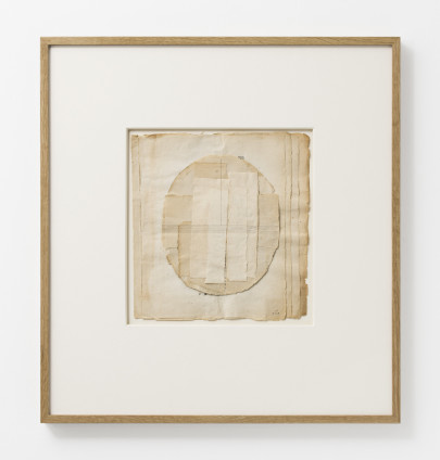 Lenore Tawney Untitled, 1968 Collage, ink drawing 27 x 25 cm, 10 5/8 x 9 7/8 ins 56.5 x 52.4 x 4 cm, 22 1/4 x 20 5/8 x 1 5/8 ins, framed Signed and dated 'L.T. 8.7.68' on recto