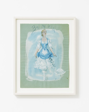 "Dorothea Tanning Bayou (Costume Design for Bayou), 1951 Graphite and gouache on green paper 31.8 x 24.2 cm, 12 1/2 x 9 1/2 ins 38.6 x 31 cm, 15 1/4 x 12 1/4 ins, framed Signed lower right ""Tanning"" Inscribed upper centre ""Bayou"""