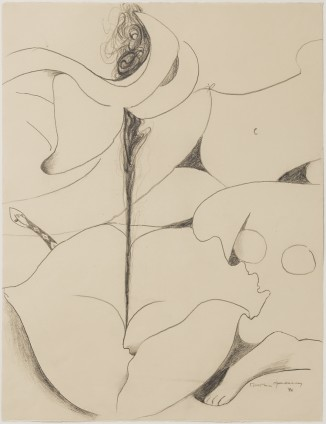 """Dorothea Tanning Untitled, 1996 Graphite on paper 65.7 x 50.2 cm, 25 7/8 x 19 3/4 ins 72.5 x 90 x 3.75 cm, 28 1/2 x 35 3/8 x 1 1/2 ins, framed Signed """"Dorothea Tanning '96"""" bottom right"""
