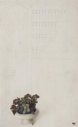 Graham Little Untitled (Strawberry Plant), 2017 Gouache on paper 80.1 x 49.3 cm, 31 1/2 x 19 3/8 ins 110.5 x 77.6 cm, 43 1/2 x 30 1/2 ins, framed