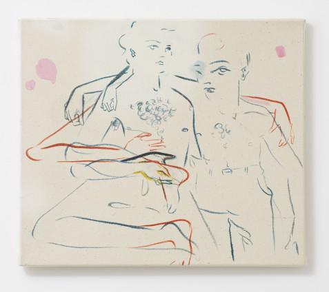 France-Lise McGurn  Perrier, 2017  Oil, acrylic and spray paint on canvas  36 x 41 cm, 14 1/8 x 16 1/8 ins