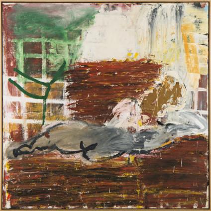 Roy Oxlade  Green Curtain, 1996  Oil on canvas  175.5 x 175.5 cm, 69 1/4 x 69 1/4 ins  179.5 x 179.5 cm, 70 5/8 x 70 5/8 ins framed