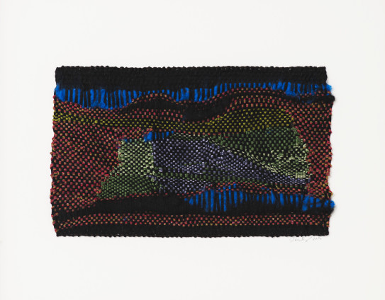 Sheila Hicks Ouessant Full Moon, 2016 Wool, bamboo, synthetic thread 18.5 x 30.5 cm, 7 1/4 x 12 1/8 ins 41.6 x 45.6 cm, 16 3/8 x 18 ins, framed Signed and dated on recto and verso