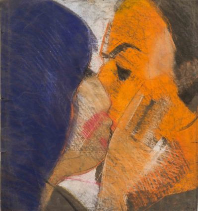Sue Dunkley A Kiss / Blue Orange, 1969 Pastel on paper 57 x 52.5 cm, 22 1/2 x 20 5/8 ins, paper size 76 x 63 cm, 29 7/8 x 24 3/4 ins, framed Signed lower right and dated
