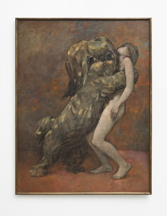"Dorothea Tanning  Tableau vivant (Living Picture), 1954  Oil on canvas  Unframed: 116.6 x 88.8 cm / 45 7/8 x 35 ins Framed: 117.8 x 90.5 x 3.2 cm / 46 3/8 x 35 5/8 ins  Signed u.l. ""Dorothea Tanning 54"", inscribed on verso ""Tableau vivant 1954 Dorothea Tanning"""