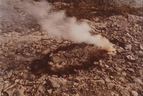 Ana Mendieta Untitled, Gunpowder Silueta Series (Rocks and Explosion), 1978 Lifetime colour photograph 20.3 x 25.4 cm, 8 x 10 ins 46.3 x 39 cm, 18 1/4 x 15 3/8 ins framed Unique