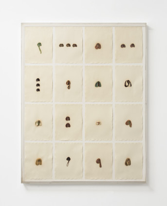 Hannah Wilke S.O.S. Starification Object Series #4 (Mastication Box), 1975 Chewing gum on rice paper 86 x 67 cm, 33 7/8 x 26 3/8 ins, framed Signed bottom right 'Wilke 75'