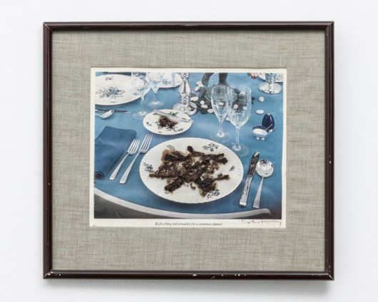 Dorothea Tanning Refreshing Informality for a Summer Dinner, 1978 Collage with reproduction and grape seeds and skins on paper Image size: 16.7 x 18.7 cm / 6 5/8 x 7 3/8 in Framed: 26.1 x 29.5 cm / 10 1/4 x 11 5/8 in Signed 'Dorothea Tanning' (lower right)