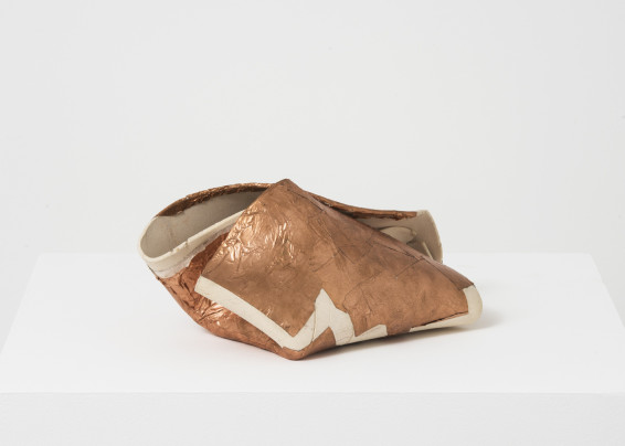 Hannah Wilke  Untitled, 1987  Unglazed ceramic with copper leaf  14.6 x 30.5 x 15.9 cm, 5 3/4 x 12 1/8 x 6 1/4 ins  Signed 'Wilke 87' on verso