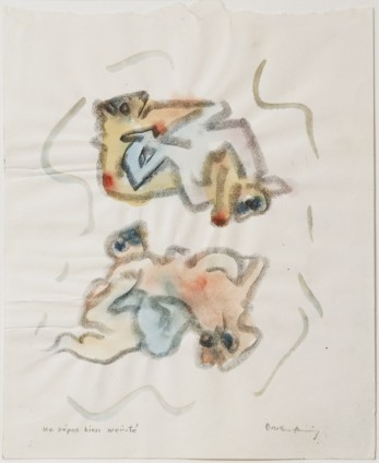 Dorothea Tanning Un repos bien merité, 1968 Watercolour and graphite on paper 27.4 x 22.3 cm, 10 3/4 x 8 3/4 ins 51.6 x 44.5 cm, 20 1/4 x 17 1/2 ins, framed Signed 'Dorothea Tanning' (lower right) Inscribed 'Un repos bien merité' (lower left)