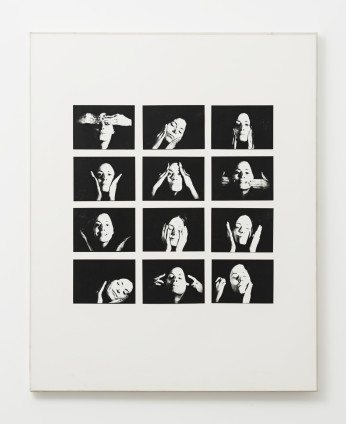 Hannah Wilke  Gestures (Triptych) [Part 2], 1974-76  30 vintage black and white photographs in 3 frames  102.2 x 82.5 cm, 40 1/4 x 32 1/2 ins, framed, each  I. Signed: 1/10 Gestures - part 2 Control Wilke 1974-6  II. Signed: 1/10 Gestures - part 1 Random Wilke 1974-6  III. Signed: 1/10 Gestures - part 3 Wilke 1974-6