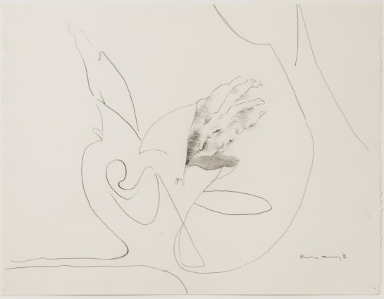 """Dorothea Tanning Untitled, 1996 Graphite on paper 43.5 x 56.5 cm, 17 1/8 x 22 1/4 ins 79 x 67.5 x 3.75 cm, 31 1/8 x 26 5/8 x 1 1/2 ins, framed Signed """"Dorothea Tanning '96"""" bottom right"""