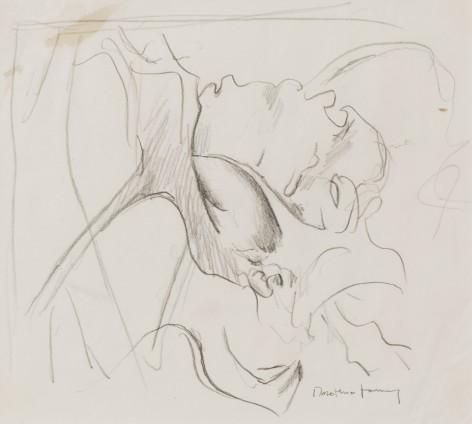 "Dorothea Tanning Sketch for Flagrantis speculum veneris (Loveknot), 1997 Graphite on paper 21.59 x 22.54 cm, 8 1/2 x 8 7/8 ins 43.5 x 42.5 x 3.75 cm, 17 1/8 x 16 3/4 x 1 1/2 ins, framed Signed ""Dorothea Tanning"" bottom right"