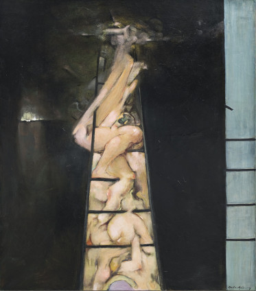 "Dorothea Tanning To Climb a Ladder, 1987 Oil on canvas 120 x 105 cm, 47 1/4 x 41 3/8 ins Signed 'Dorothea Tanning (lower right) Inscribed on verso ""To Climb a Ladder Dorothea Tanning 1987"""