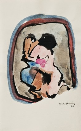 "Dorothea Tanning Untitled, 1964 Ink and watercolour on paper 18 x 11 cm, 7 1/8 x 4 1/4 ins 42.2 x 33.2 cm, 16 5/8 x 13 1/8 ins, framed Signed l.r. ""Dorothea Tanning '64"""