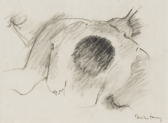 "Dorothea Tanning Sketch for Zephirium apochripholiae (Windwort), 1997 Graphite on vellum 11.5 x 15.9 cm, 4 1/2 x 6 1/4 ins 38.5 x 36.5 x 3.75 cm, 15 1/8 x 14 3/8 x 1 1/2 ins, framed Signed ""Dorothea Tanning"" bottom right"