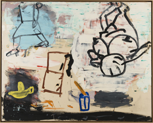 Roy Oxlade  Yellow Lemon Squeezer and Coffee Pot, 1987  Oil on canvas  122 x 152.5 cm, 48 1/8 x 59 7/8 ins  124.6 x 155 cm, 49 1/8 x 61 1/8 ins framed