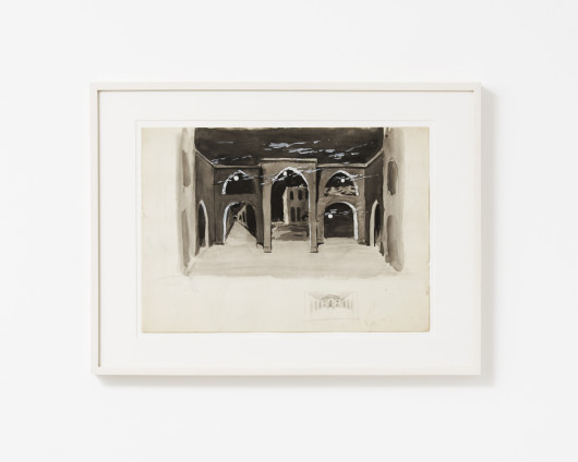 Dorothea Tanning Untitled (Set Design for The Night Shadow or an Unrealized Ballet), c. 1950 Graphite, ink, and gouache on paper 25.4 x 35.6 cm, 10 x 14 ins 31.8 x 42.1 cm, 12 1/2 x 16 5/8 ins, framed