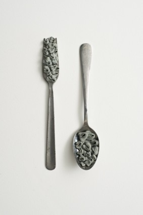 Hannah Wilke Fork and Spoon, 1974 Kneaded erasers on metal utensils Fork: 1 x 2.6 x 19 cm / 3/8 x 1 1/8 x 7 1/2 ins Spoon: 2 x 4 x 18.2 cm / 3/4 x 1 5/8 x 7 1/8 ins