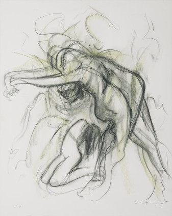 "Dorothea Tanning Tango, 1989 Charcoal and pastel on paper Unframed: 101.6 x 81.3 cm / 40 x 32 ins Framed: 126.6 x 104.3 cm / 49 7/8 x 41 1/8 ins Signed l.r.: ""Dorothea Tanning '89"", inscibed l.l. ""Tango"""