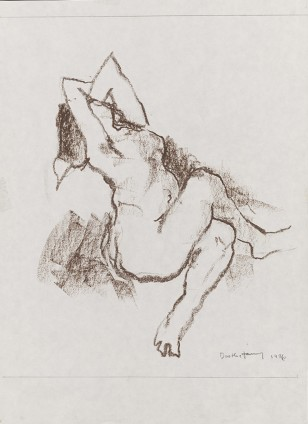 "Dorothea Tanning Maenad III, 1986 Oil pastel on paper 41.3 x 30.2 cm, 16 1/4 x 11 7/8 ins 51.9 x 44.6 cm, 20 1/2 x 17 5/8 ins framed Signed lower right ""Dorothea Tanning 86"""