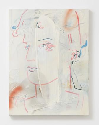 France-Lise McGurn  Centaurette, 2017  Gesso, marker pen, oil, acrylic and spray paint on canvas  60.3 x 45 cm, 23 3/4 x 17 3/4 ins