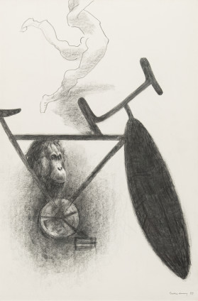 Dorothea Tanning Message 4, 1989 Charcoal and graphite on board 152.4 x 101.6 cm, 60 x 40 ins 174.2 x 122 cm, 68 5/8 x 48 1/8 ins, framed Signed and dated on recto 'Dorothea Tanning 89' (lower right)