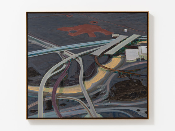 Carol Rhodes River, Roads, 2013 Oil on board 49.9 x 57 cm, 19 5/8 x 22 1/2 ins 51.5 x 58.7 cm, 20 1/4 x 23 1/8 ins framed Signed, titled and dated (upper left verso)