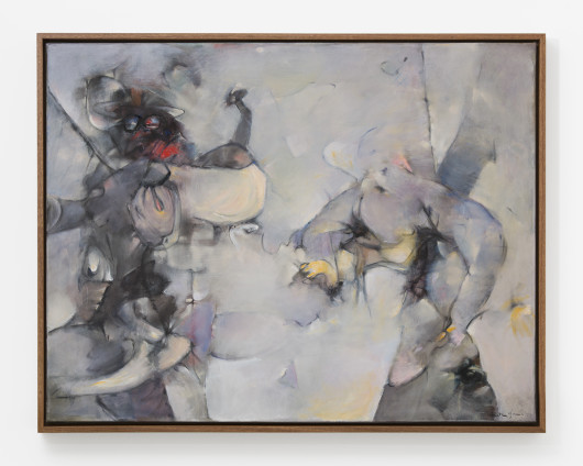 """Dorothea Tanning The Moonstone Effect, 1959-2005 Oil on canvas 114 x 146 cm, 44 7/8 x 57 1/2 ins 117 x 149 cm, 46 1/8 x 58 5/8 ins, framed Signed lower right: """"Dorothea Tanning"""" Formerly: 'Opale opale opale', 1959"""