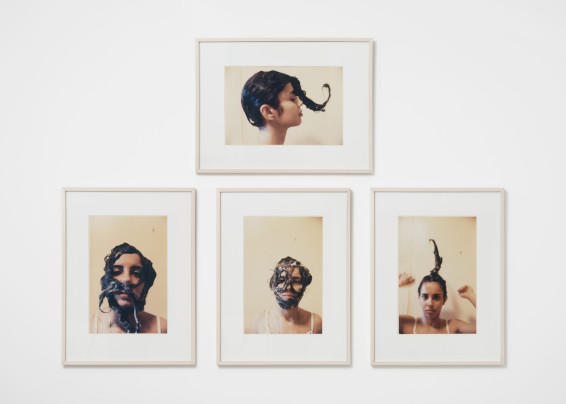 Ana Mendieta Untitled (Cosmetic Facial Variations), 1972 4 Estate colour photographs 48.9 x 32.38 cm, 19 1/4 x 12 3/4 ins, each 74.3 x 55.88 cm, 29 1/4 x 22 ins, framed 137 x 185 cm, 54 x 72 7/8 ins, overall Edition 6/10 Printed in 1997 Each stamped 'Ana Mendieta', signed by Raquel Mendieta Harrington, Administratrix of The Estate, and numbered on verso