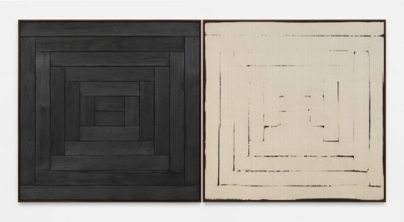 Davide Balula  Burnt Painting, Imprint of the Burnt Painting (The Channel), 2015  Charred wood, coal dust on linen  Each panel: 163.8 x 163.8 cm / 64 1/2 x 64 1/2 ins