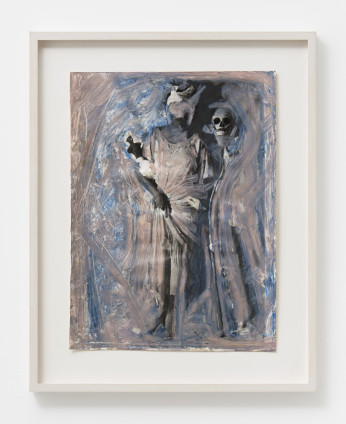 Birgit Jürgenssen Untitled (from the series 'Death Dance with Maiden'), 1979/80 Lifetime black and white photograph, overpainted 39.5 x 29.5 cm, 15 1/2 x 11 5/8 ins 52 x 41 cm, 20 1/2 x 16 1/8 ins, framed Unique