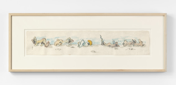 Dorothea Tanning Untitled (frieze), c. 1974 Watercolour and graphite on Japan paper 13 x 65.4 cm, 5 1/8 x 25 3/4 ins 31.5 x 84.2 x 3.5 cm, 12 3/8 x 33 1/8 x 1 3/8 ins, framed