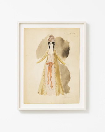 "Dorothea Tanning Judith (Costume Design for Judith), 1961 Graphite, watercolour, and wash on paper 37.7 x 28 cm, 14 7/8 x 11 ins 44.3 x 32.5 cm, 17 1/2 x 12 7/8 ins, framed Signed lower right ""Dorothea Tanning"" Inscribed upper right ""Judith (L. Bellon) """