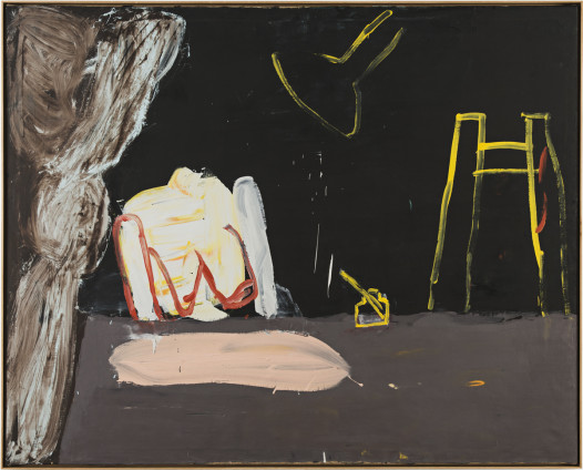 Roy Oxlade  Rose and Ink Pot, 1987  Oil on canvas  121.2 x 150.7 cm, 47 3/4 x 59 1/4 ins  123.8 x 153.3 cm, 48 3/4 x 60 3/8 ins framed