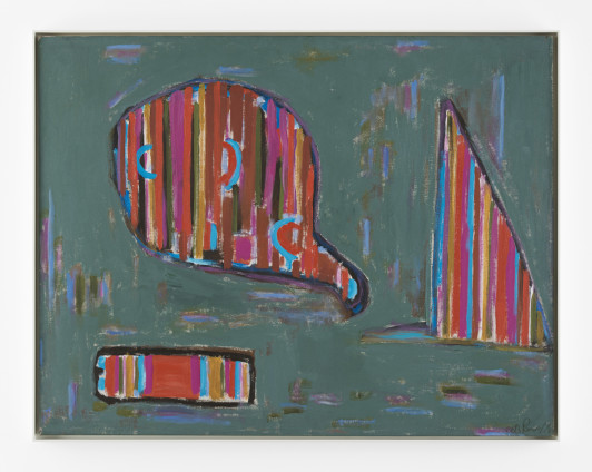 Betty Parsons Head Signature, 1978 Acrylic on canvas 100 x 128.3 cm, 39 3/8 x 50 1/2 x ins 102.6 x 131.4 cm, 40 3/8 x 51 3/4 x ins, framed Signed and dated on verso, titled and dated on stretcher bar